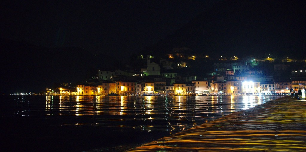 Monte Isola from the Floating Piers by night