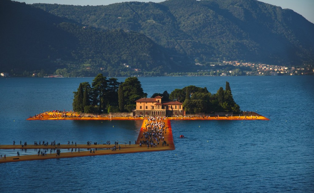 Sunrise over San Paolo Island and the Floating Piers